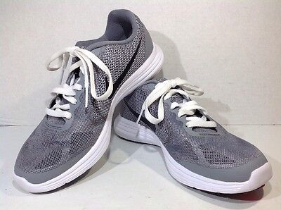 Nike Youth Size 4.5 Revolution 3 Gray Black Athletic Shoes Sneakers ZI-573