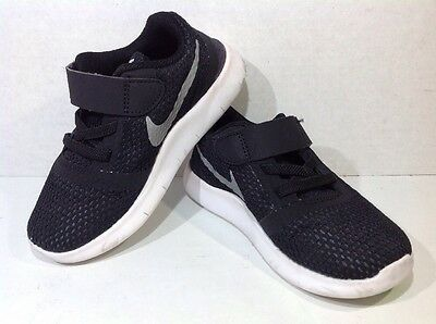 Nike Toddler Size 9 Free RN Black White Casual Athletic Shoes Sneakers ZI-578