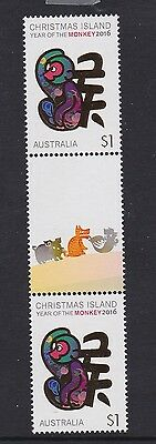 Christmas Island 2016  #3 : Year of the Monkey $1 Gutter pair with Design, MNH