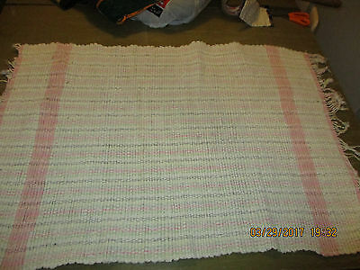 "Vintage used woven rag rug 35"" X 24.5"" not including fringe"