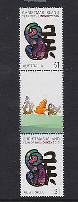 Christmas Island 2016  # 4 : Year of the Monkey $1 Gutter pair with Design. MNH