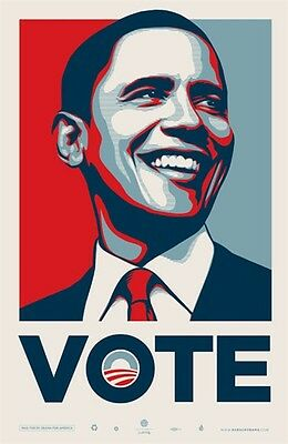 """Barack Obama VOTE Offset Print by Shepard Fairey Obey 26"""" X 40"""" Ed 5000"""