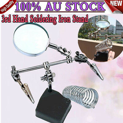 Industrial 3rd Hand Soldering Iron Holder Stand Station Magnifier Helping Tool D