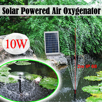 10W Pool Garden Pond Solar Powered Panel Water Pump Fountain Kit Submersible 2m