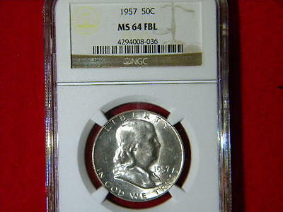 1957-P Franklin Halve Dollar Ngc Certified Ms 64 Fbl White Blazzer Beautiful Coi