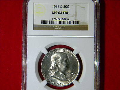 1957-D Franklin Halve Dollar Ngc Certified Ms 64 Fbl White Blazzer Beautiful Coi