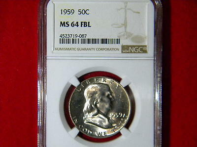 1959-P Franklin Halve Dollar Ngc Certified Ms 64 Fbl White Blazzer Beautiful Coi