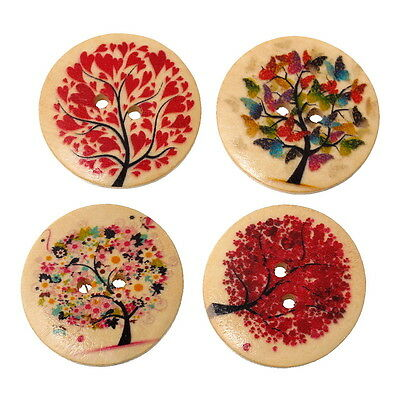 Pack of 5 Tree Pattern Painted Wooden Buttons 30mm Sewing/DIY Craft/Scrapbooking