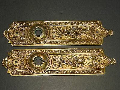 Architectural Salvage Solid Bronze Ornate Door Backplates with Lock Covers