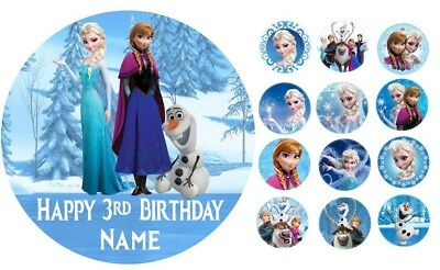 Frozen Personalised Edible Icing Cake Topper 19cm PRE-CUT + 12 Cupcake Toppers