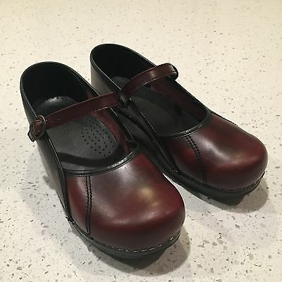 Women's Sanita Clogs Red Leather Mary Jane Style Shoes EU Size 41 EUC!