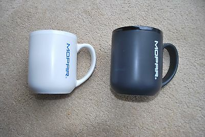 Mopar Coffee Cups (2) Black With White & White With Blue Lettering New Mint