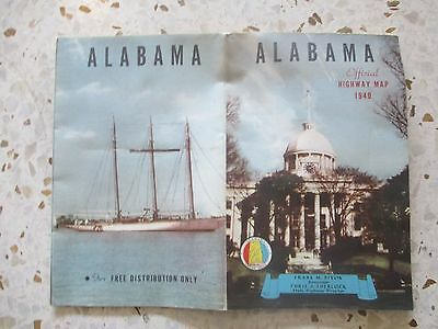 Vintage 1940 Alabama Official Highway Map + Scenic Map