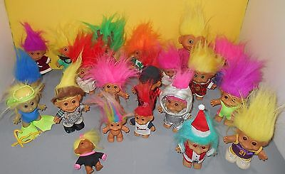 Mix of Older Russ & Ace Vinyl Troll Dolls w/ Wacky Hair - Mix of Colors