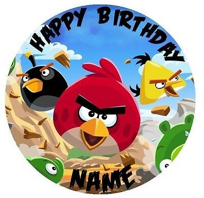 Angry Birds Personalised Edible Icing Cake Topper 19cm PRE-CUT
