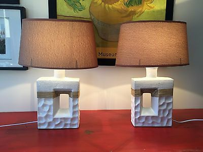 NEW Pair Ceramic Bedside, Console Table Lamps