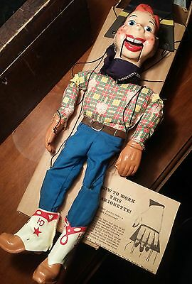 """Vintage 1950's HOWDY DOODY 16"""" inch Toy Marionette Puppet Doll COMPLETE WORKING"""