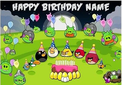 Angry Birds Personalised Edible Icing Cake Topper A4 size