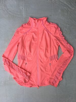 Womens Zella Hot Pink Jacket Size Medium Ruffles Zip - Up EUC!