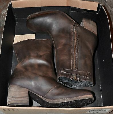 KSUBI HOOK3 Brown Rustico boots NEW 70's style Block Heel leather ankle NEW 38 7