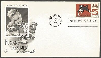 Us Fdc 1966 Humane Treatment Of Animals 5C Stamp Ac First Day Of Issue Cover