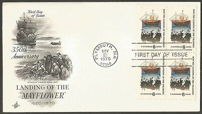 Us Fdc 1970 The Landing Of The Pilgrims 6C Stamps Ac First Day Of Issue Cover