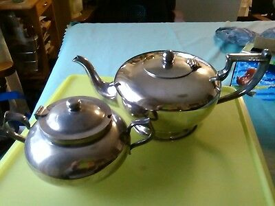 Vintage silver plated EPNS Art deco teapot and sugar bowl