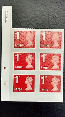 2016 1st Class Large Red Machin M16L Cylinder Block of 6 Bottom left Grid