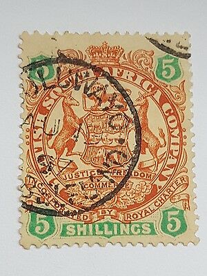 Rhodesia 1896 SG49 5s Large Arms Fine Used.