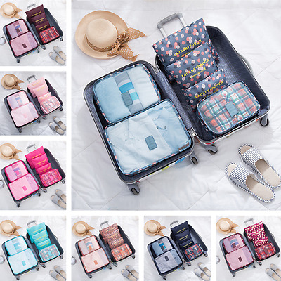 6Pcs Waterproof Travel Storage Bags Clothes Packing Luggage Organizer Pouch CU