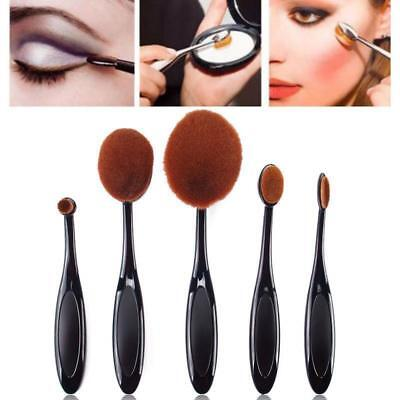 5Pcs Oval Cream Puff Toothbrush Shaped Power Foundation Makeup Brush Set CU