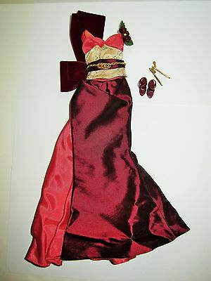 Exotic Intrigue Barbie Doll Burgundy Dress Gown, Shoes, Hair Accessories 4 OOAK