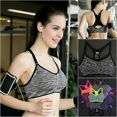 Femme Yoga Fitness Bra Crop Tops Seamless Racerback Gym Padded Bra Tops S/M/L