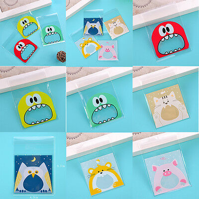 100pcs Cute Candy Cake Biscuits Cookies Snack Packaging Bags Gift Self-adhesive