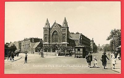 Vintage Postcard Kensington Park Road London Ladbroke Road Degen Real Photo