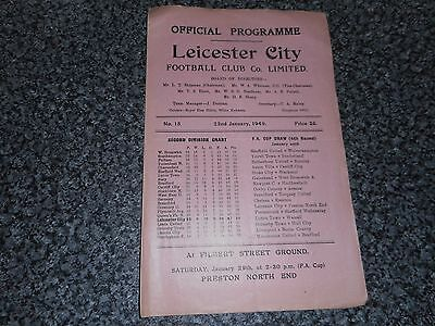 LEICESTER CITY  v  LINCOLN CITY  1948/9  ~  JANUARY 22nd  VINTAGE **FREE POST**