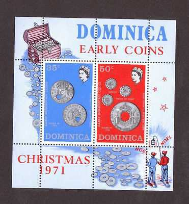 Dominica # 336a Mint Never Hinged Souvenir Sheet (Coins)(1971 Christmas)