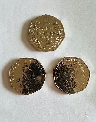 Beatrix potter set of 3 50p coins