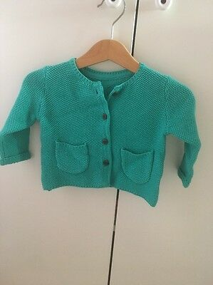 M&S Green Knitted Cardigan 0-3 Month BNWT