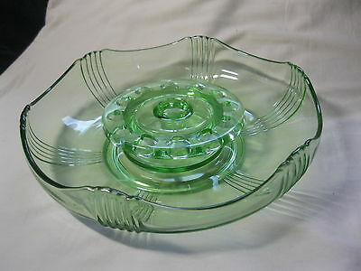 Art Deco Green Glass Centre Piece... Large Dish & Flower Frog.... Fab