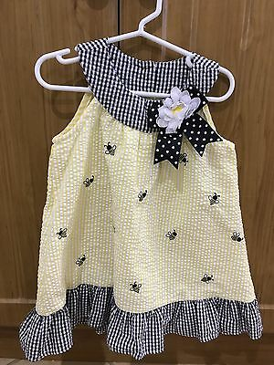 Girls Size 2 Summer Dress Yellow With Bee Detail
