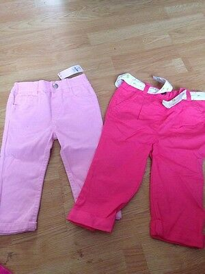 Baby Girls 2 prs Trousers size 12/18m Primark