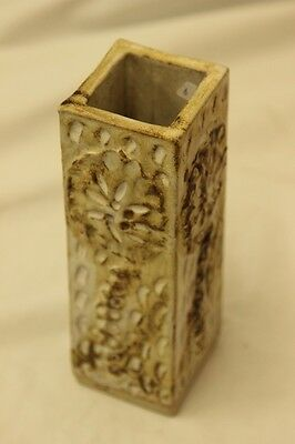 1970S Handmade Vase With White Floral Pattern With A Square Design 7X20Cm