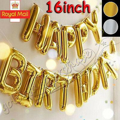 Large Gold Happy Birthday Self Inflating Balloon Banner Bunting Party Decoration