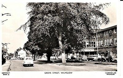 RP 1962 WILMSLOW Grove Street, shops, classic cars, people, Lilywhite Photograph