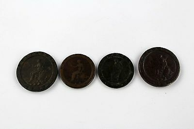 Lot of 4 x Antique 1797 GEORGIUS Cartwheel Penny (x 2) & Two Penny (x 2) Coins