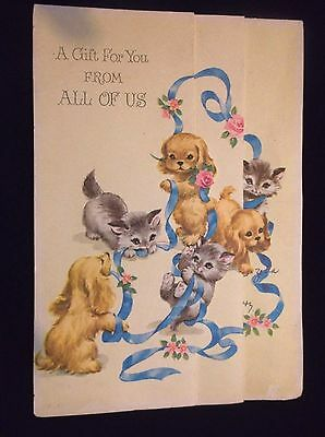 VTG   KITTENS Cats Kitties  PUPPIES Fold Out   DIE CUT Greeting Card