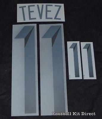 Argentina Tevez 11 2014 world cup Football Shirt Name Set Home Sporting ID