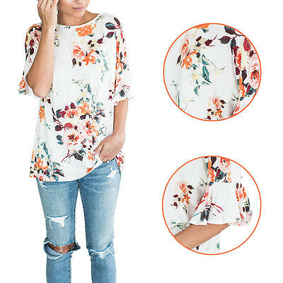 O-Neck Floral Casual New Printed Short Sleeve T-Shirts Summer Women