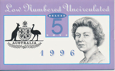 Australia: 1996 $5 Deluxe Low Numbered Folder Cat $90